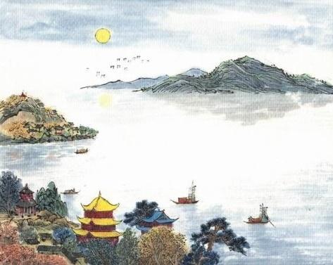 湖光秋月两相和,潭面无风镜未磨。全诗意思及赏析