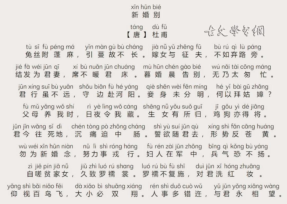 《新婚别》杜甫唐诗注释翻译赏析